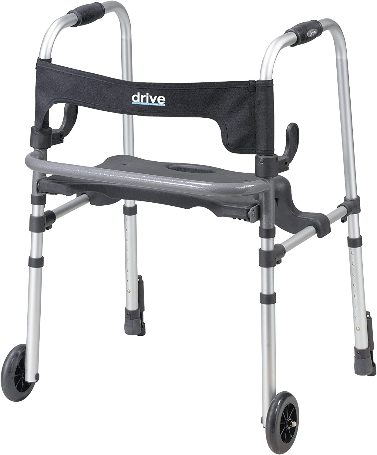 Drive Medical Clever-Lite LS Rollator Walker with Seat and Push Down Brakes, Gray 713ugSRzacLSL1500_