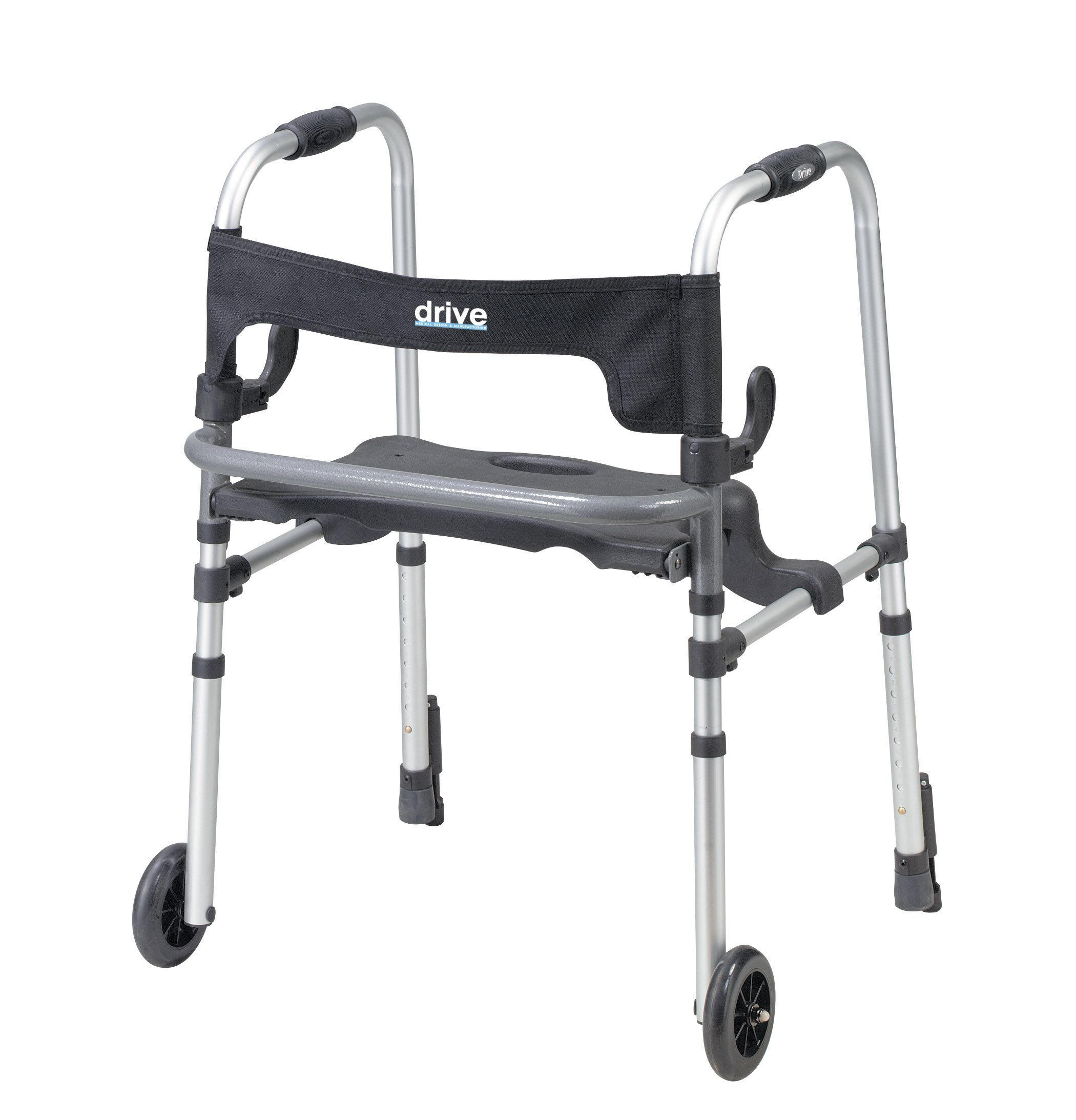 Drive Medical Clever-Lite LS Rollator Walker with Seat and Push Down Brakes, Gray by Drive Medical