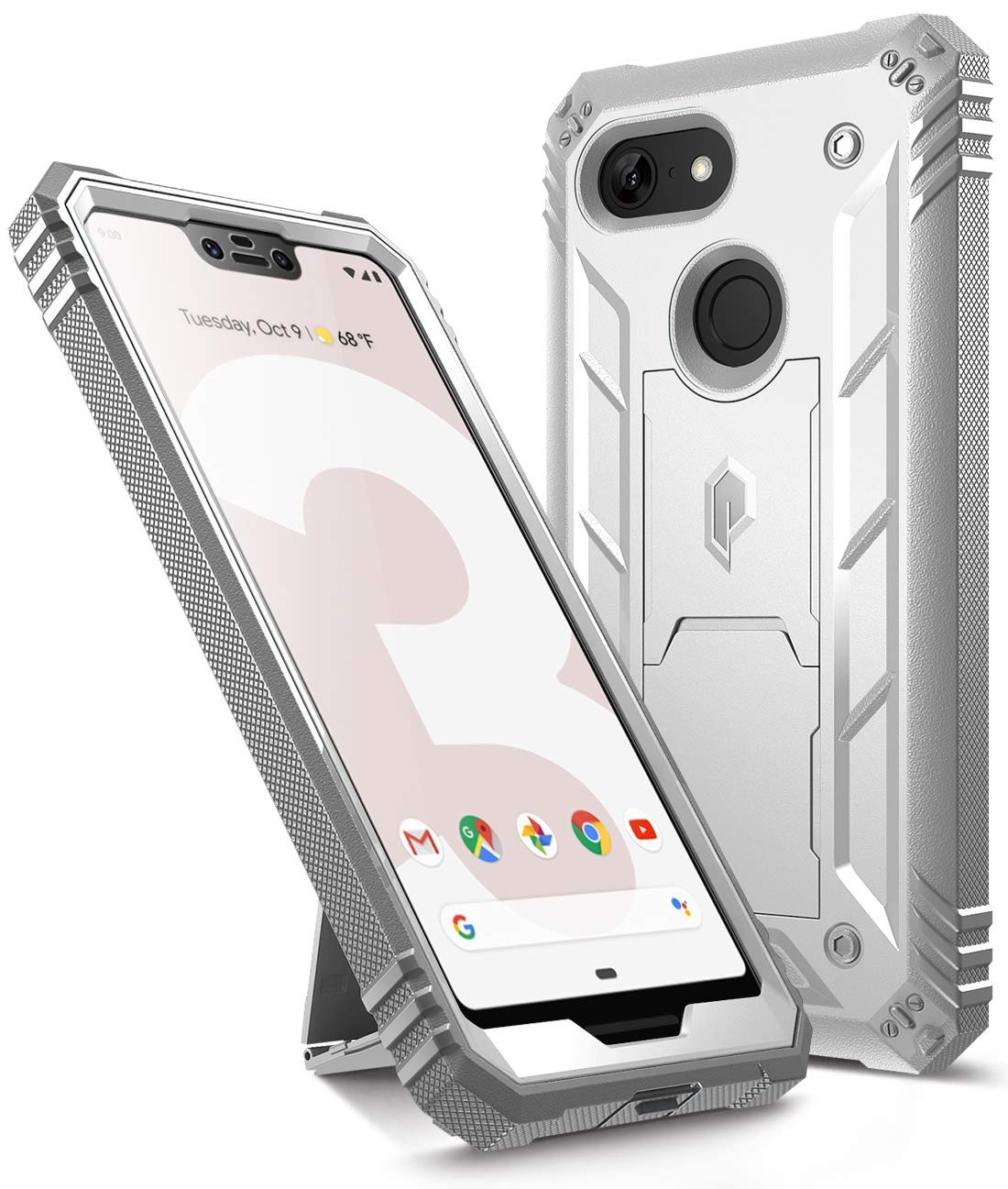 Google Pixel 3 XL Kickstand Rugged Case, Poetic Revolution [360 Degree Protection] Full-Body Rugged Heavy Duty Case with [Built-in-Screen Protector] for Google Pixel 3 XL White