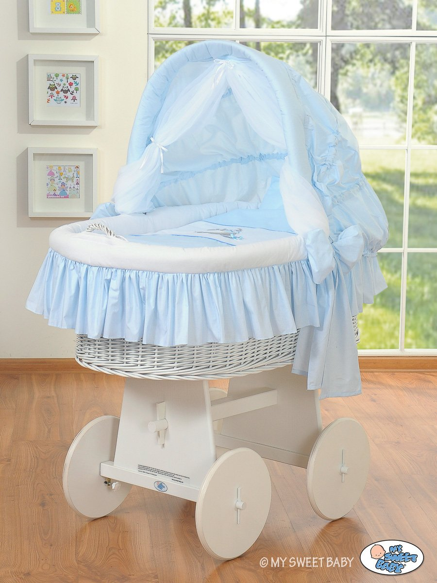 beautiful wheeled white wicker crib moses basket with big wheels  - beautiful wheeled white wicker crib moses basket with big wheels  hood complete quality blue bedding set with cute print amazoncouk baby