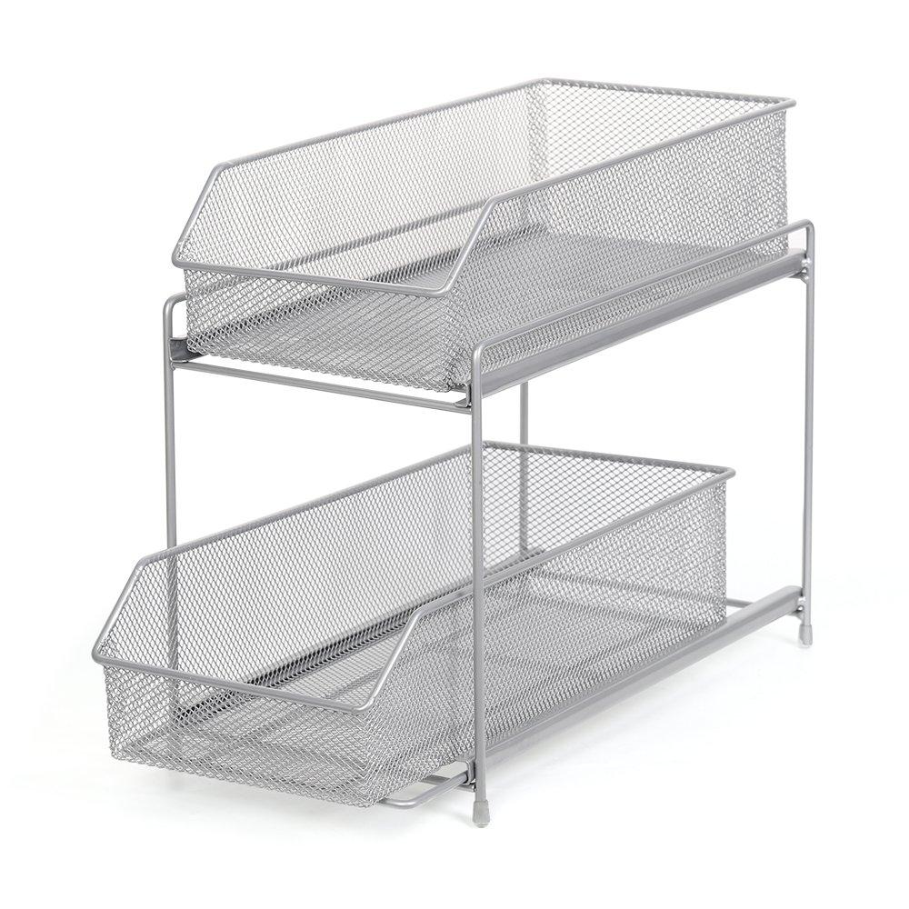 LIANTRAL 2 Tier Sliding Basket Organizer Drawer Organizer Brown (LT-DB045A) (Silver)