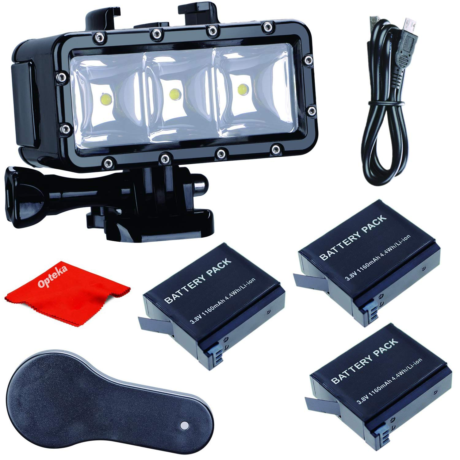 Opteka High-Power Underwater Diving Waterproof 147ft(45m) LED Video Light for GoPro Hero 7/6/5/5S/4/4S/3+/2/SJCAM/YI Action Cameras
