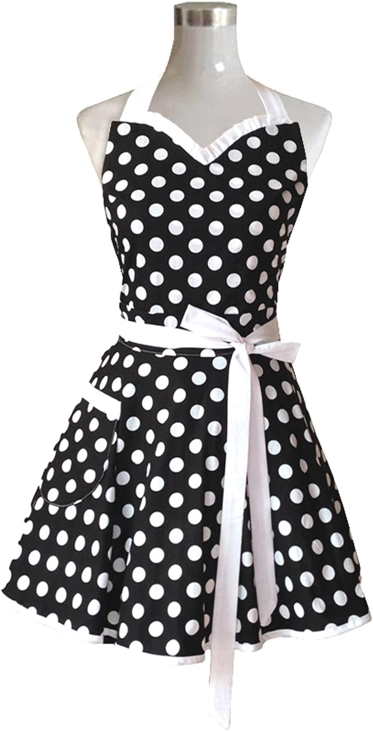 Hyzrz Lovely Sweetheart Black Retro Kitchen Aprons Woman Girl Cotton Polka Dot Cooking Salon Pinafore Vintage Apron Dress Gift