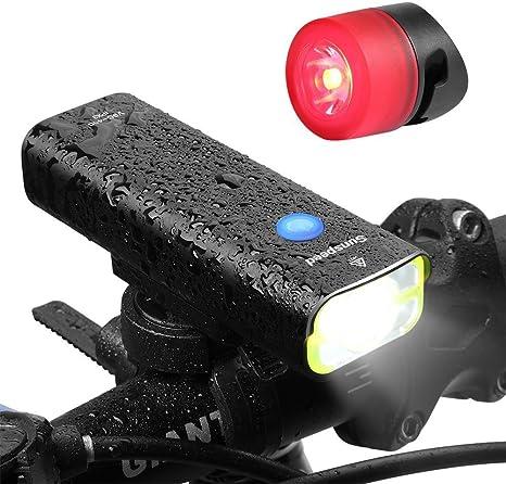 Sunspeed LED luz bicicleta faro con Trasera Gratis USB Recargable ...