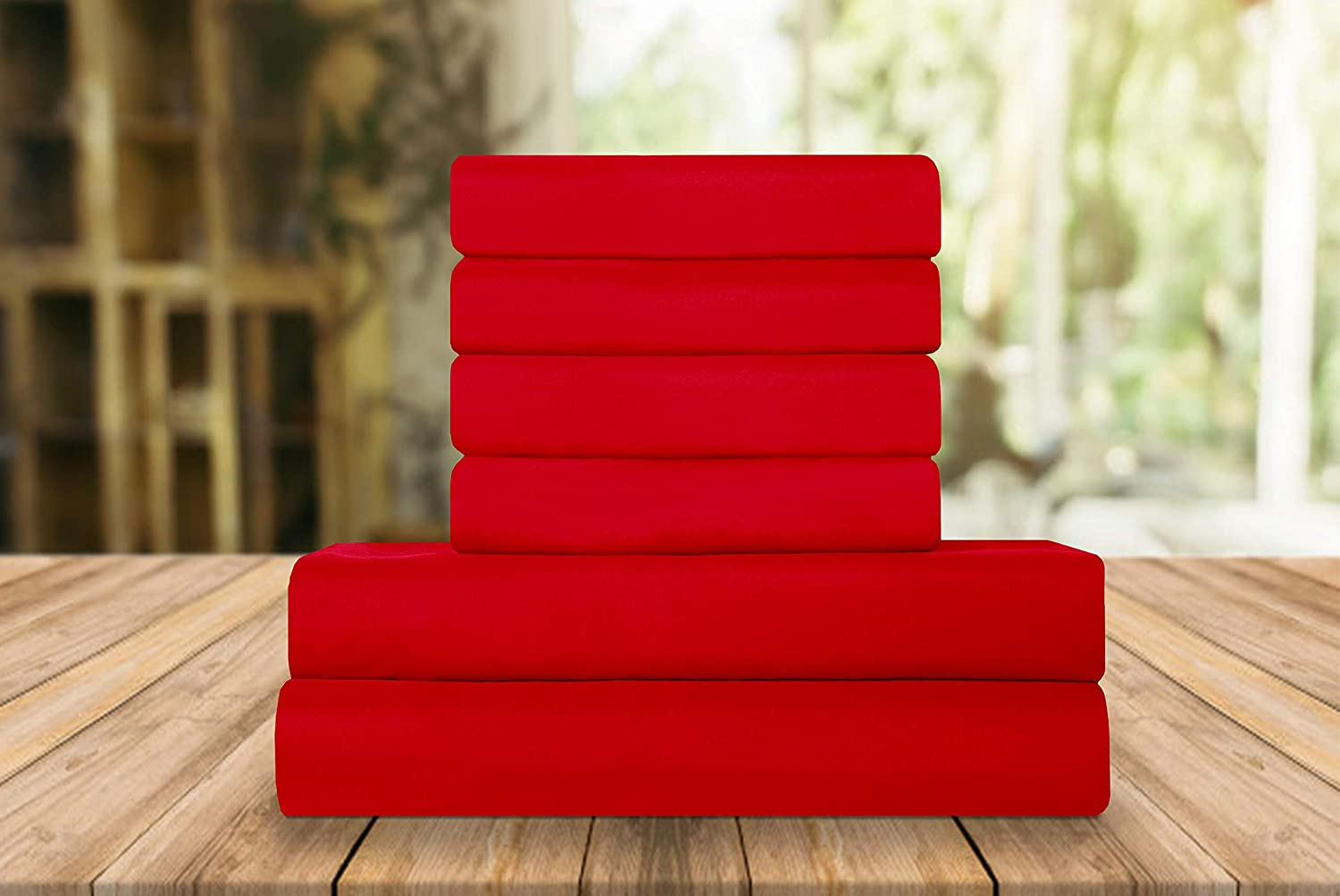 Elegant Comfort Luxury Soft Bed Sheets 1500 Thread Count Percale Egyptian Quality Softness Wrinkle and Fade Resistant (6-Piece) Bedding Set, Queen, Candy Apple Red