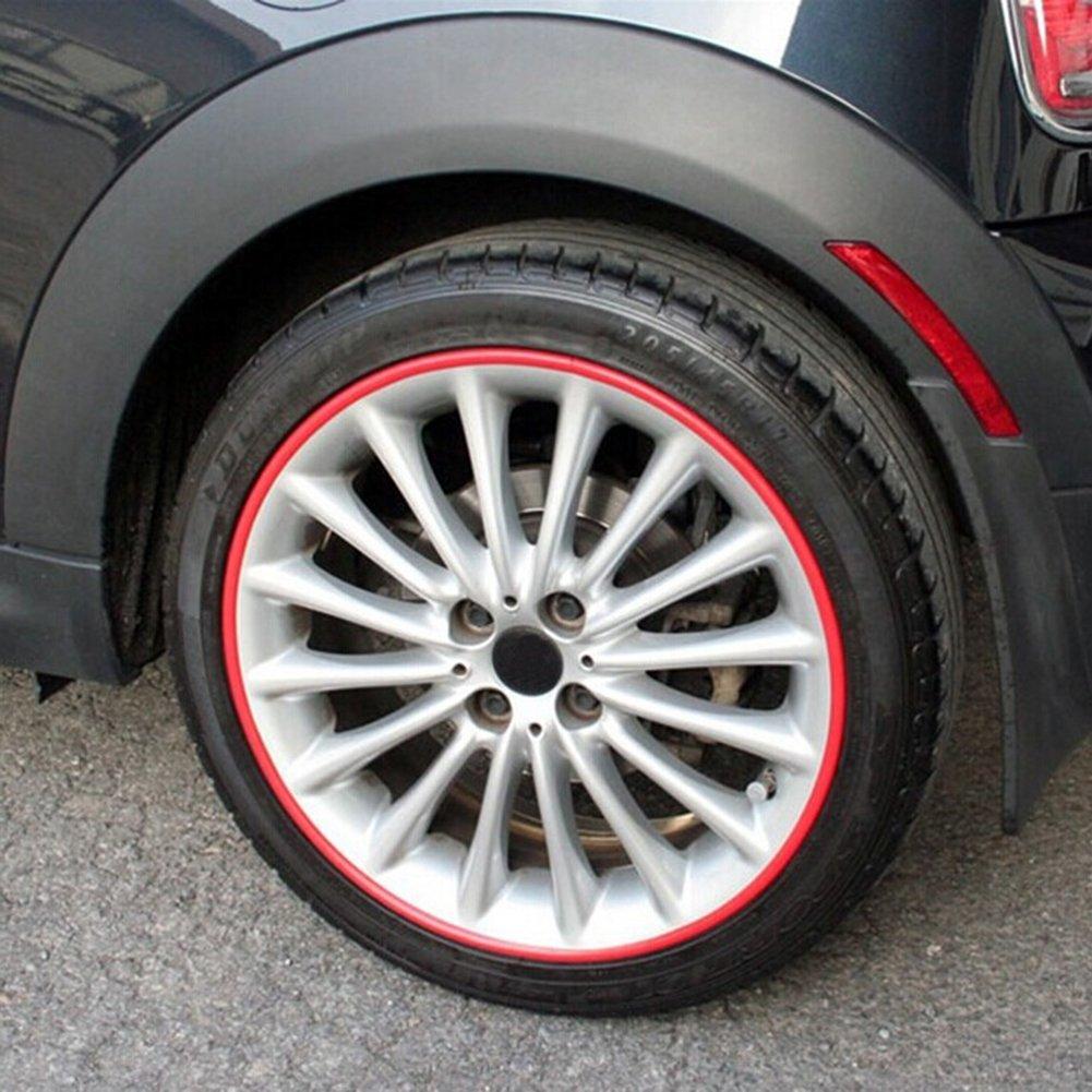 rosso Demiawaking Protezione della Ruota dellAutomobile Adesivo Hub Strip Decorativa Auto Accessori Auto 8m