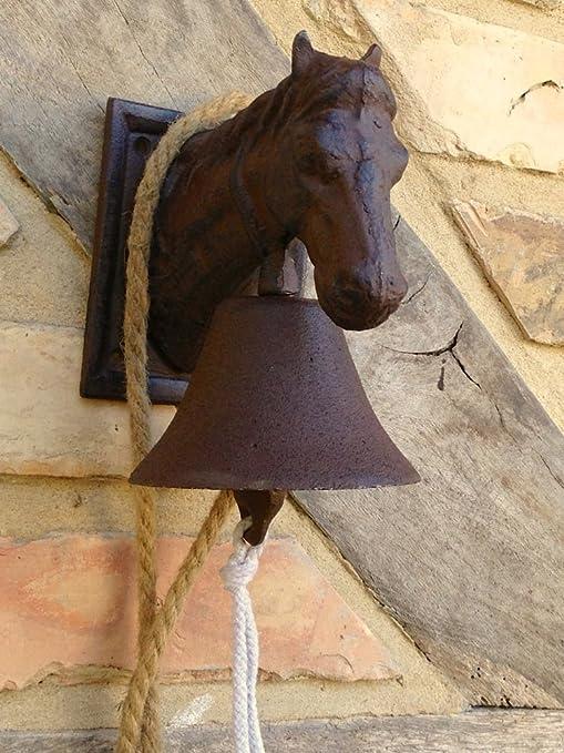 Antikas - campana con cabeza de caballo - campana de puerta rústica - campana jardín estilo antiguo: Amazon.es: Jardín