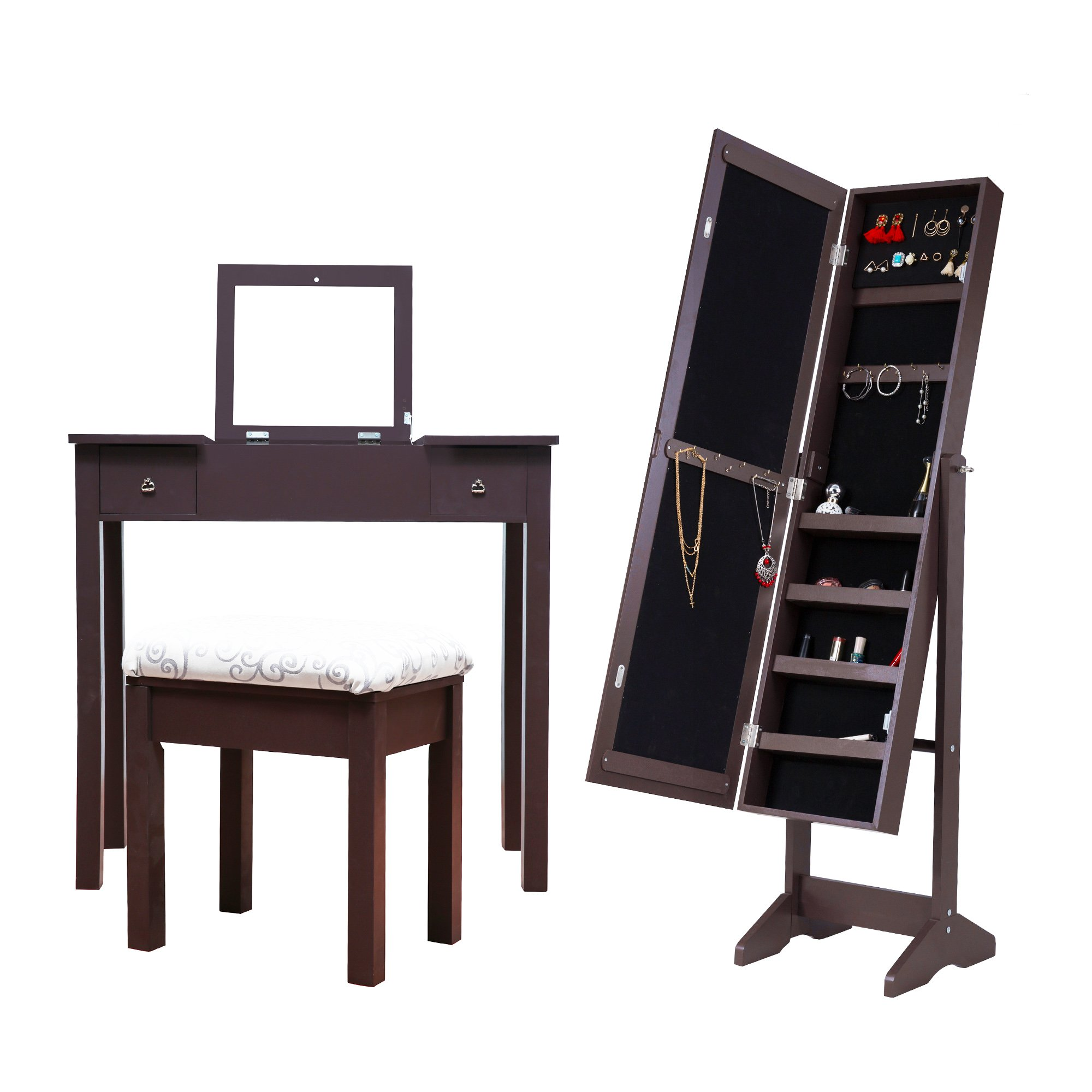 Cloud Mountain Mirrored Jewelry Armoire Cabinet Free Standing + Makeup Dressing Vanity Table Set, Espresso