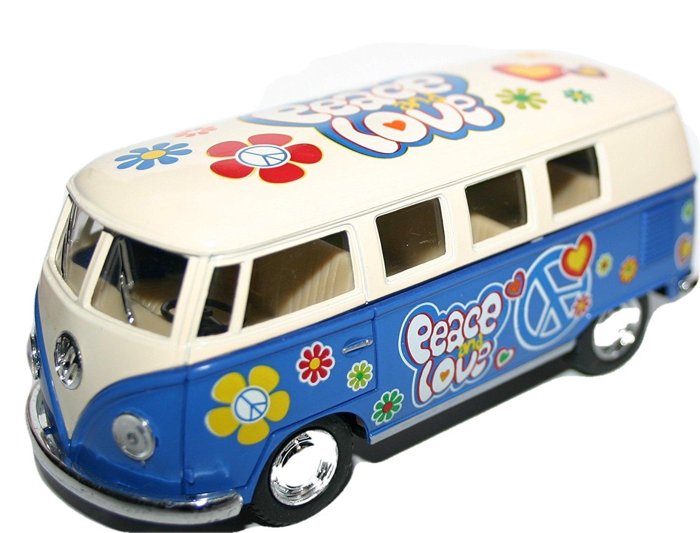 VW Volkswagen Camper Van Modèle à Échelle Peace Love Flower Power Modèle Véhicule