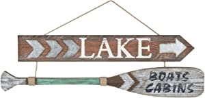 Beachcombers Lake Arrow & Oar Sign Brown