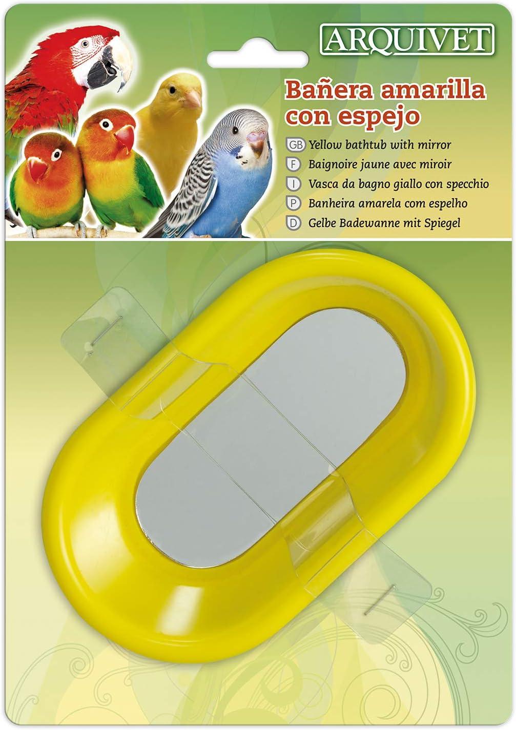 Arquivet Bañera amarilla para pájaros con espejo