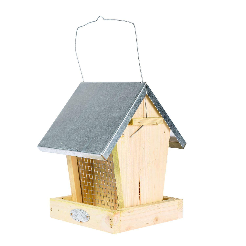 Homescapes Mangeoire pour oiseaux à suspendre en bois et zinc