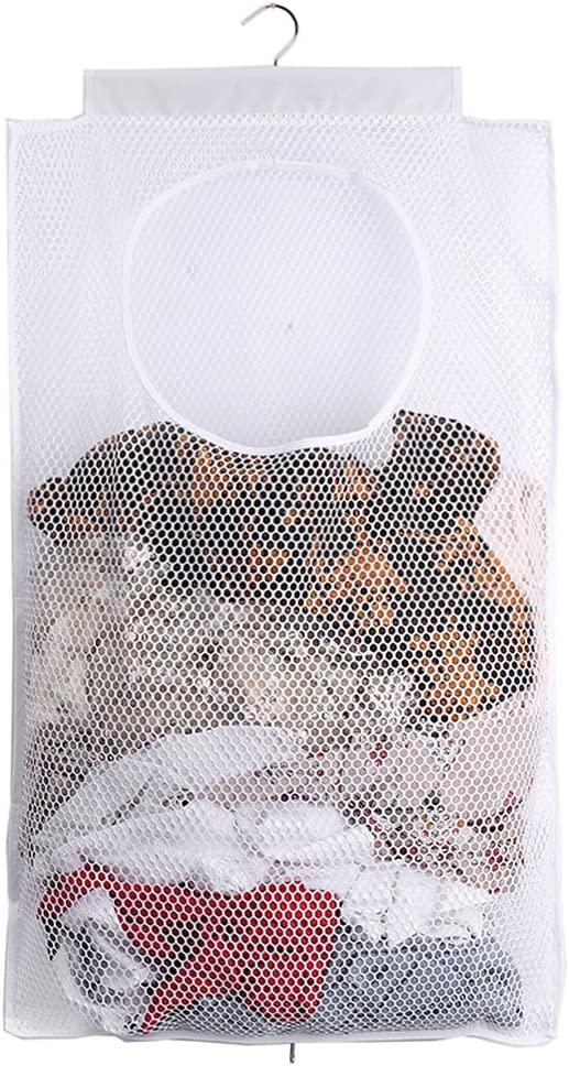 ALYER Mesh Laundry Hamper,Foldable Hanging Storage Basket,Portable Space Saving Storage Bag (White)