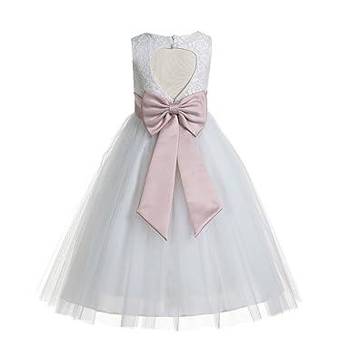 Ekidsbridal Floral Lace Heart Cutout White Flower Girl Dresses First Communion Dress Baptism Dresses 172 T by Ekidsbridal