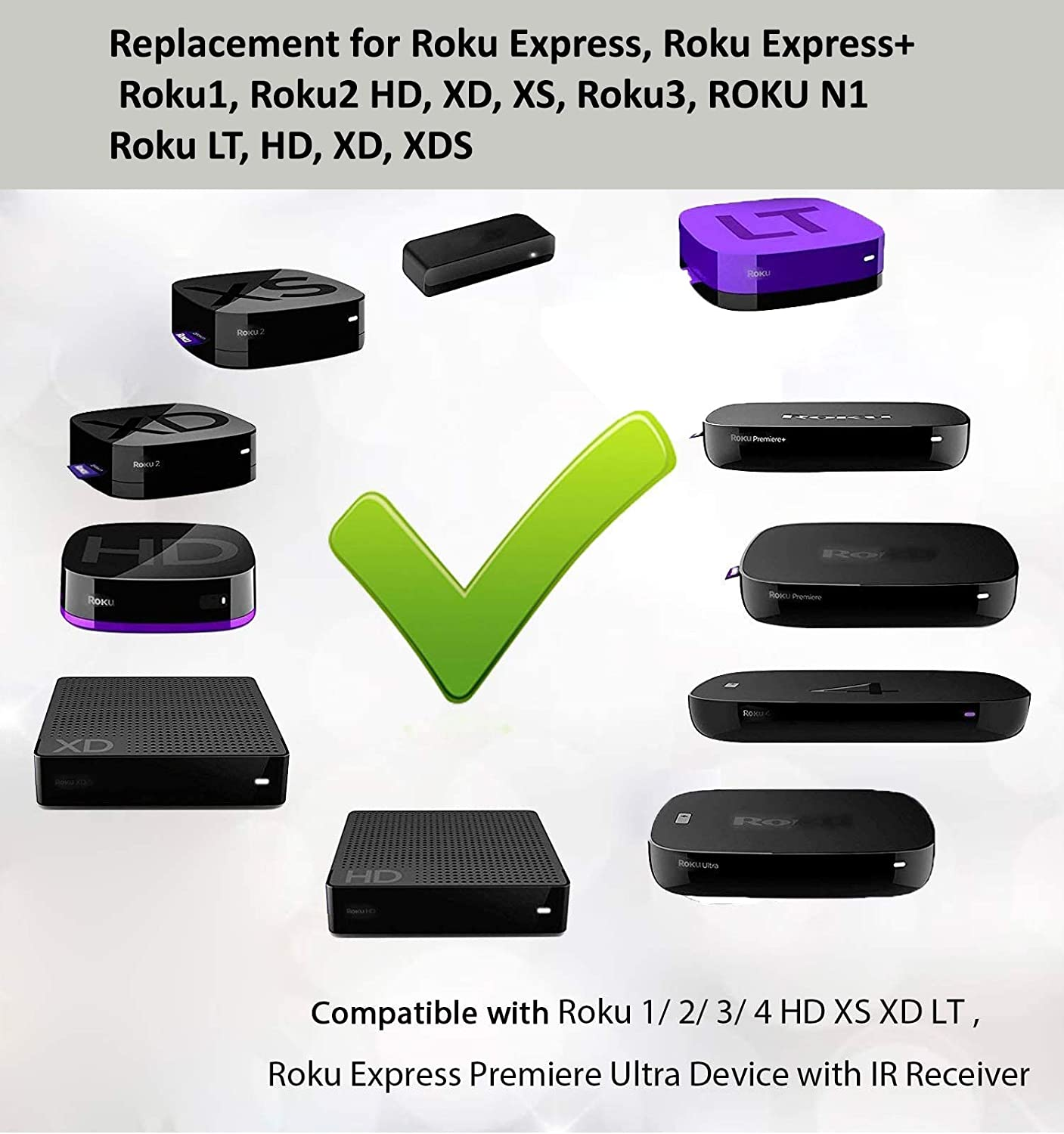 NOT Support for Any Roku Stick or Roku TV Remote Control Replaced for Roku 1 2 3 4 HD LT XS XD Roku Express 3900R Premiere 4620XB 4210XB 3900R 2500R 2700R 2450XB w//Channel Shortcut Buttons