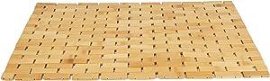 Mind Reader BAMAT-BRN Luxury Roll Up Shower Bath Mat, Anti-Slip Mat, Environment Friendly Bamboo, Brown