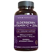 Viva Naturals Elderberry, Vitamin C, Zinc, Vitamin D 5000 IU & Ginger Immune Support Supplement, 2 Month Supply (120 Capsules) - 5 in 1 Daily Immune Support for Adults