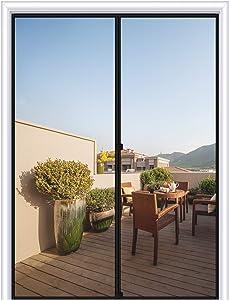 """MAGZO Magnetic Screen Door 48 x 83, Reinforced Fiberglass Mesh Curtain Double Door Mesh with Full Frame Hook&Loop Fits Door Size up to 48""""x83"""" Max-Grey"""