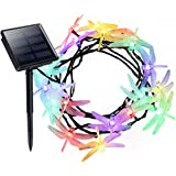 Litom Outdoor Solar String Lights 20 LED with Dragonfly Shape 8 Working Modes Solar Power Waterproof Decorative Lights for Garden/Home/Party/Bedroom/Christmas (Multi Color)