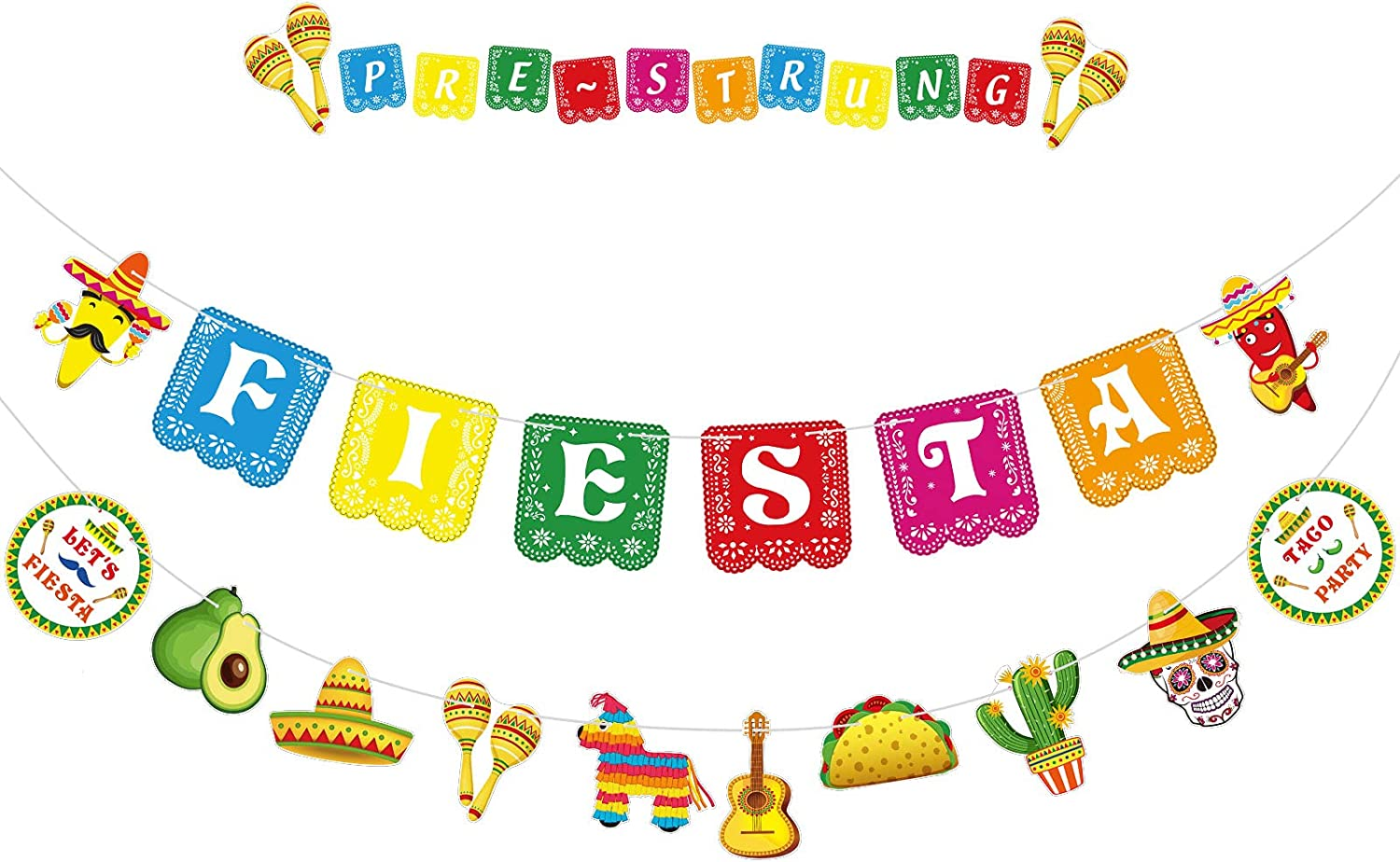 Mexican Party Supplies Sign Banner Garland Fiesta Party Decoration Cinco De Mayo Backdrops Ceiling Hanging Card Tissue Decorations for Mexican Festival Fiesta Taco Theme Birthday, 18 Fiesta Patterns