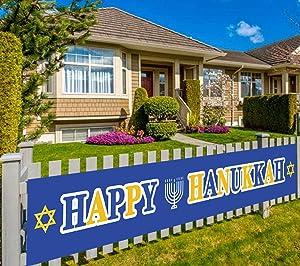Happy Hanukkah Banner, Hanukkah Chanukkah Party Bunting Sign Banner, Hanukkah Chanukkah Party Decorations Supplies, Hanukkah Party Backdrop Table Background Photo Booth Props, Outdoor Indoor Decoration (9.8 x 1.5 ft)