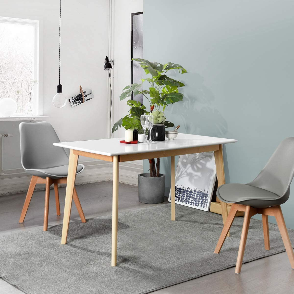 CozyCasa Kitchen Dining Table Mid-Century Simple Table Modern Solid Wood Desk for Home Office Small Spaces Kitchen Living Room in White