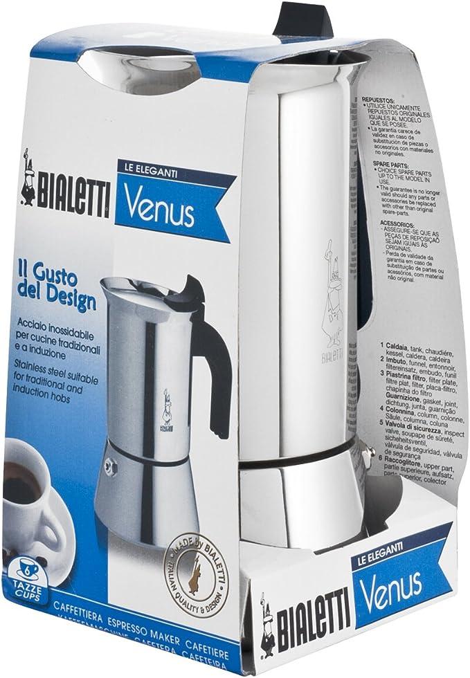 Bialetti 6356 Venus - Cafetera de acero inoxidable, 6 tazas, fondo ...