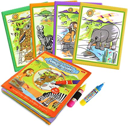 Amazon Com Homseek Magic Doodle Books Aqua Drawing Fabric Books 2 6in X 8 3in With 2 Doodle Pens Cloth Reusable Water Wow Doodle Learning Painting Doodle Scribble Pad With Water Pens For Kids Animals Toys Games