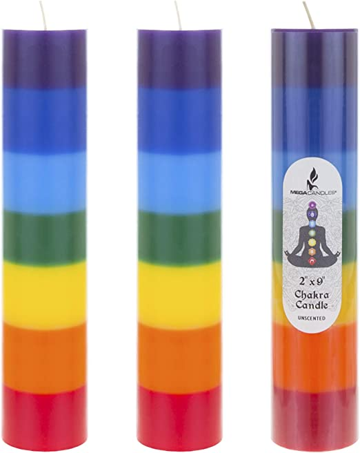 """Promotes Positive Energy Aids Meditation and Relaxation Hand Poured Premium Wax Candles 2/"""" x 9/"""" 100/% Lead Free Cotton Wick Mega Candles 3 pcs Unscented Multi Color Chakra Round Pillar Candle"""