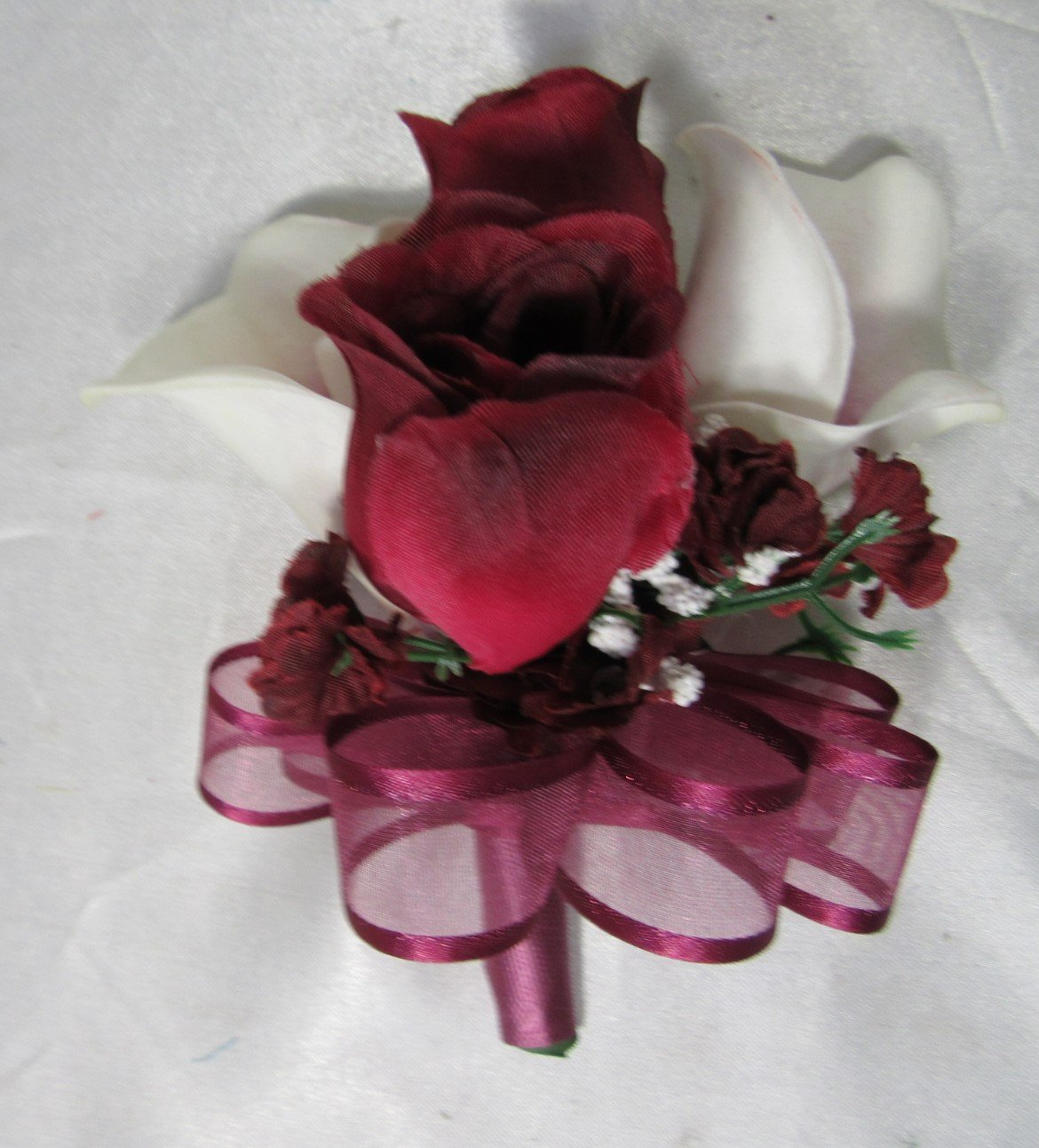 Burgundy Rose Calla Lily Corsage or Boutonniere
