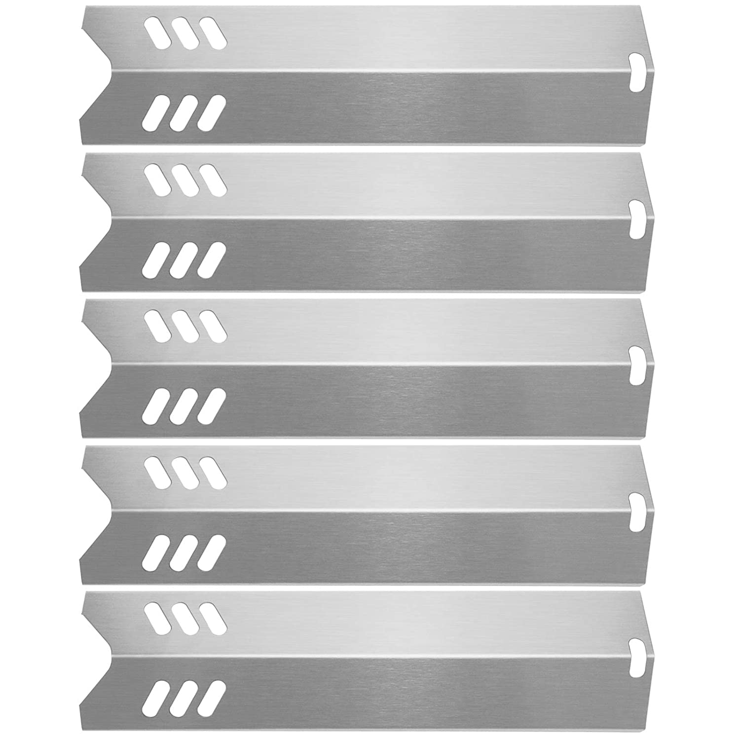 """Hisencn 15"""" Stainless Steel BBQ Gas Grill Heat Plate Shield Tent Replacement for Backyard BY13-101-001-13, BY14-101-001-02, Dyna-Glo DGF510SBP, Uniflame GBC1059WB (5Pack - Stainless Steel)"""