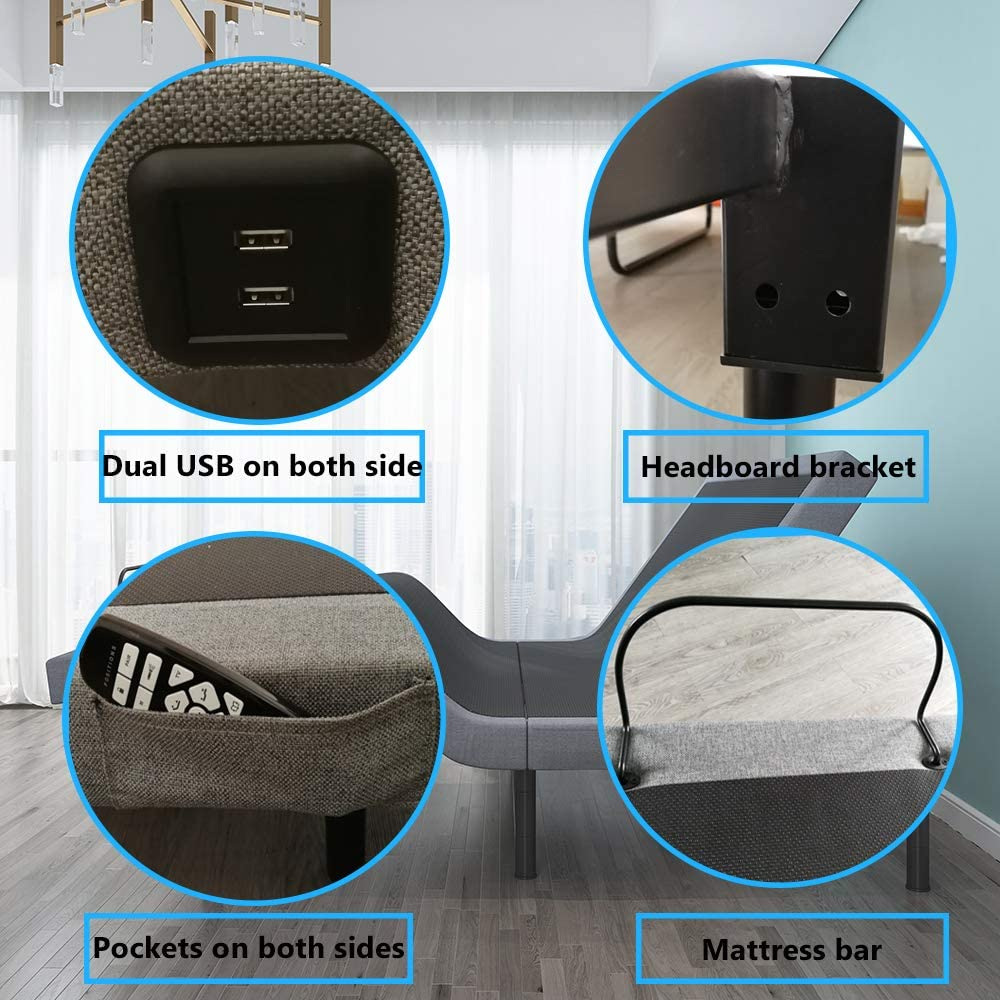 LEISUIT Adjustable Bed Frame Base with Back /& Foot Massage,Under-Bed Lighting,Wireless Remote,Zero Gravity,Flat Button,Dual USB Ports Easy Assembly Twin XL