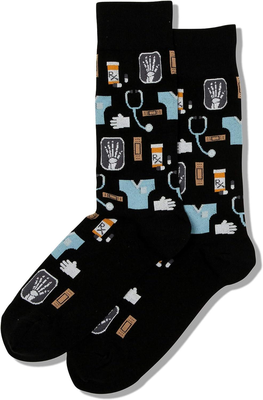 Hot Sox Men's Conversational Slack Crew Socks