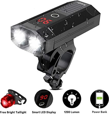 MTB Bike Headlight USB Rechargeable Power Bank Waterproof Riding Front Light Hot