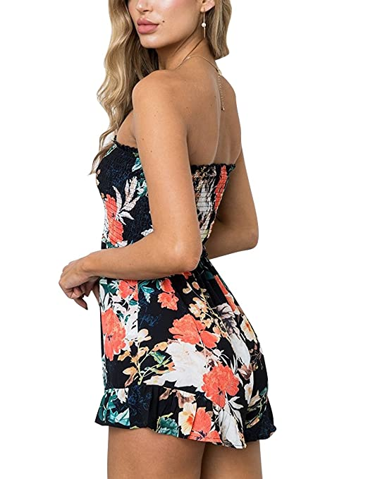 11e5b976637 Amazon.com  Assivia Womens Rompers Off Shoulder Floral Print Strapless  Beach Shorts Jumpsuits Playsuit  Clothing