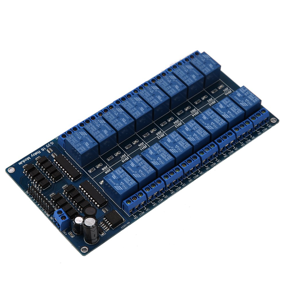 5 V 12 V Everpert Placa de rel/é para Arduino PIC AVR MCU DSP ARM PLC 16 canales