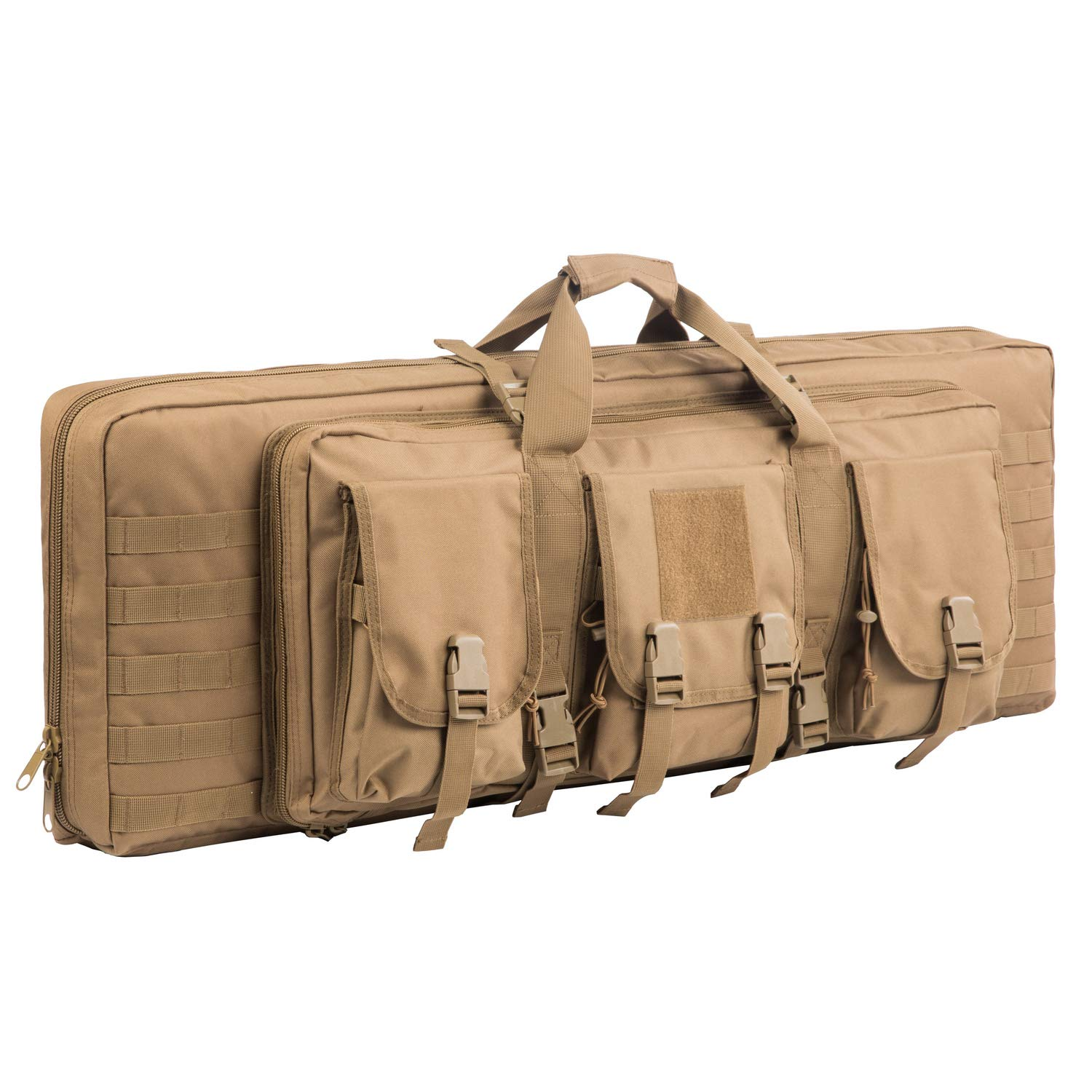 XWLSPORT AK47/AR16 Tactical Rifle Case Double Carbine Bag Outdoor Molle Deluxe Double Rifle Gun Bag Padded Long Gun Case & Rifle Storage Backpack(2 Sizes and 6 Colors to chooese from) (TAN, 42inch) by XWLSPORT