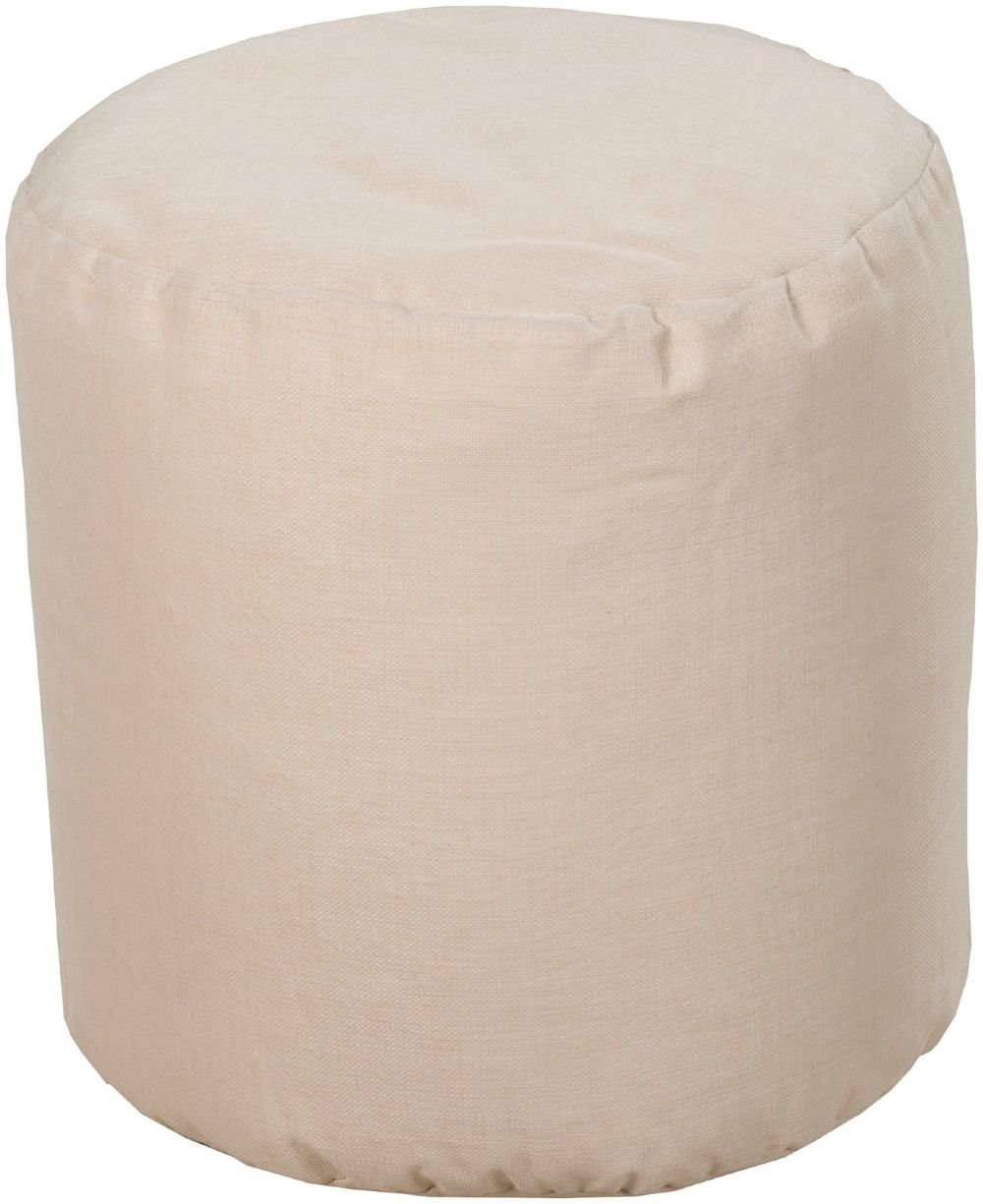 Surya Solid/Striped Round pouf/ottoman 19''x19''x22'' in Neutral Color From Surya Poufs Collection