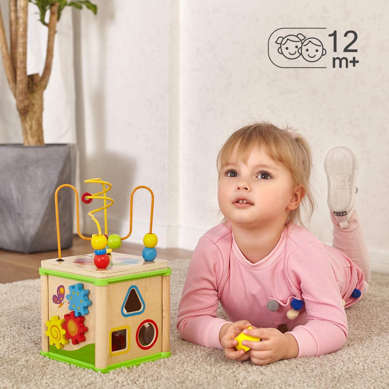 TOP BRIGHT Jouet Cube Dactivit/é en Bois pour Enfant 1 an Jeu Perles de Labyrinthe pour B/éb/é Cadeau D/'Anniversaire pour Gar/çons et Fille 2 Ans