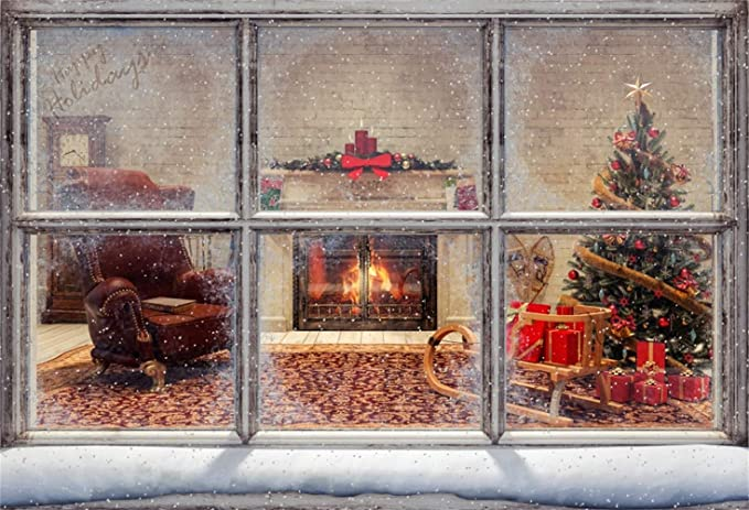 Rustic Room Interior Bright Burning Fireplace Rough Floor Backdrop Polyester 10x6.5ft Wintery Party Child Kids Adult Artistic Photography Background New Year Xmas Party Studio Props