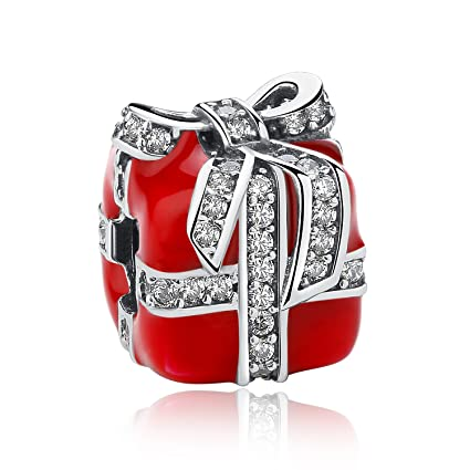 f4a03c247 Meetccy Red Enamel Charms for Pandora Charms,Authentic Sterling Silver  Charms Beads Christmas Gift Box