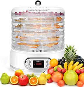 KGK Dehydrator for Food and Jerky Food Dehydrator Machine Digital Temperature Control Electric Food Dehydrator Machine for Fruit Meat Vegetable White Food Dryer Dehydrator with 6 BPA-free Trays 400W