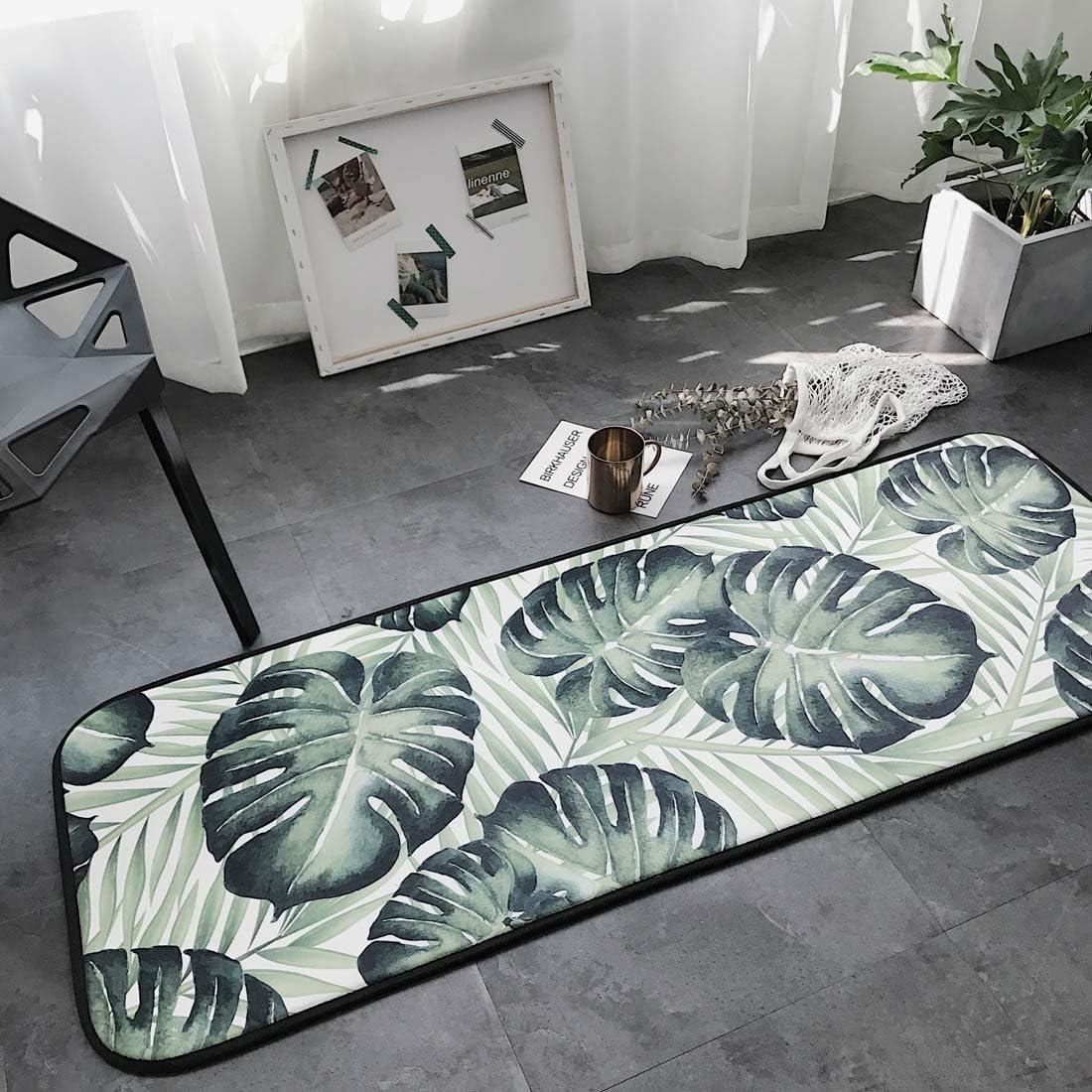 KAROLA Kitchen and Bathroom Mat Rug,Non Skid Mat Entryway Living Room Bedroom Hallway Indoor Floor Entry Decorative Runner Rug Set, 19 x66 ,Monstera
