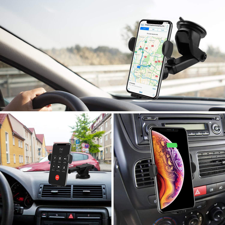 Luftauslassclip Goojodoq Wireless-Autoladeger/ät 15WQi Fast Car Charger Mount ber/ührungsempfindlicher Autotelefonhalter 4,7-6,5 Zoll 360 /° drehbare Saugnapfhalterung