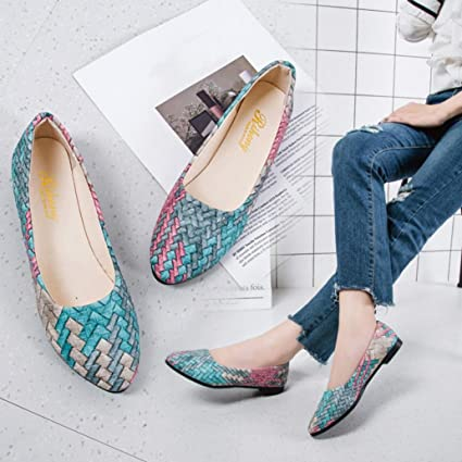 6742a9d6697 Image Unavailable. Image not available for. Color  Women Flats Boat Shoes  Office Wedges Sandals Pointed Toe Low Heel Shoes Hemlock (US