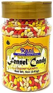Rani Sugar Coated Fennel Candy 5oz (141g) PET Jar ~ Indian After Meal Digestive Treat | Vegan