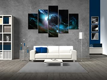 5 Panel Large Wall Art Blue Colorful Space Nebula Abstract Universe  Background Painting Pictures Print On Canvas For Home Modern Decoration  Framed for ...