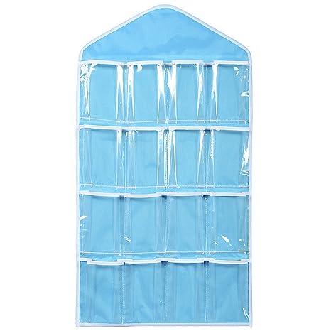 Bolsa de almacenamiento, organizador, funda bolsa para colgar con 16 compartimentos, para guardar joyas, calcetines, ropa de manualidades, ropa ...