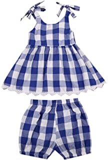 296cfdea91dd MUNI Cute Baby Girls Clothes Blue Plaid A-Line Top Blouse+Bloomer Shorts  2pcs