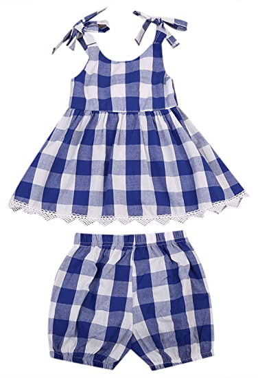 180cf741e4 MUNI Cute Baby Girls Clothes Blue Plaid A-Line Top Blouse+Bloomer Shorts  2pcs Outfit Set